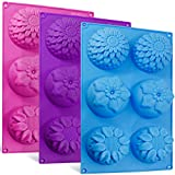 6-Cavity Silicone Flower Shape Cake Molds, SENHAI 3 Packs Fondant Shape Decorating Ice Cube Trays for Homemade Cake Chocolate Cupcake - Purple Blue Pink