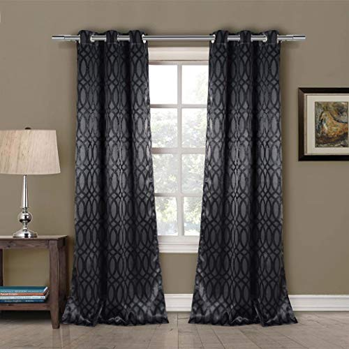 Duck River Textiles - Tayla Trellis Pattern Linen Textured Blackout Room Darkening Grommet Top Window Curtains Pair Panel Drapes for Bedroom, Living Room - Set of 2 Panels - 36 X 84 Inch - Black (Lace Panels Black Curtain)