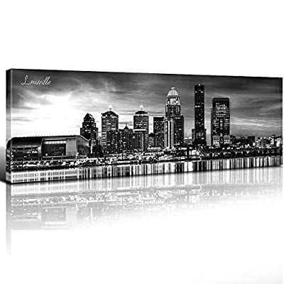 sunfrower - Black Cityscape Wall Art Decor Canvas Print Paintings Black and White Urban Landscape Canada USA UK City Pictures Modern Artwork Stretched Framed Home Decoration