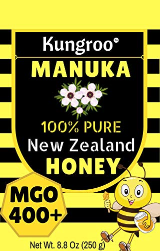Kungroo Manuka Honey New Zealand - MGO 400+ For Skin lightening Face Scar Acne Spot Eczema Honey Natural Anti Inflammatory Cough Cold Sore Throat Treatment Arthritis Pain Relief, 8.8 Oz (The Best Treatment For Sore Throat)