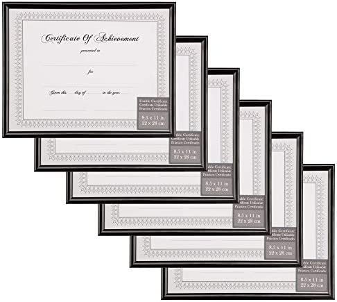 Gallery Solutions 19FP2190C 8.5x11 Front Loading Snap Document Set of 6 Frame Sets 8.5 x 11 Black