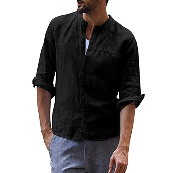 Camisa de algodón de Manga Larga para Hombre, Estilo étnico ...
