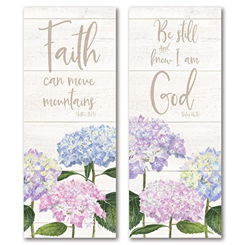 Roaring Brook Lovely Hydrangea Be Still & Know I Am God and Faith Can Move Mountains Panel Set; Religious Decor ; Two 12x36in Fine Art Paper Giclee Prints