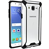 Galaxy J7 Case, POETIC Affinity Series Premium Thin/No Bulk/Clear/Dual material Protective Bumper Case for Samsung Galaxy J7 (2015)(BOOST,VIRGIN,T-MOBILE,METRO PCS) Black/Clear