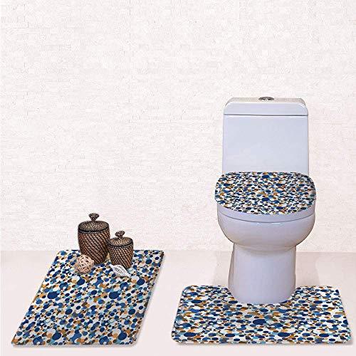 Comfort Flannel 3 Pcs Bath Rug Set,Contour Mat Toilet Seat Cover,Abstract Circle Round in Color Bubble Retro Celebration Design with Navy Sky Blue Apricot Cinnamon,Decorate Bathroom,Entrance Door,kit