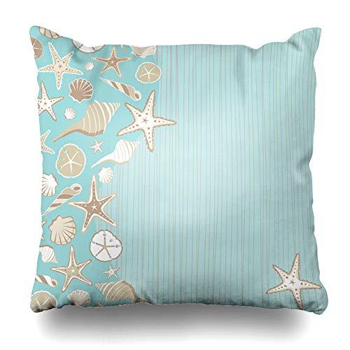 Ahawoso Throw Pillow Cover Seaside Seashell Beach Party Variety Shells Aqua Teal Stria Wtih Whimsical Tropical Feel Plenty Room Decor Zippered Cushion Case 16