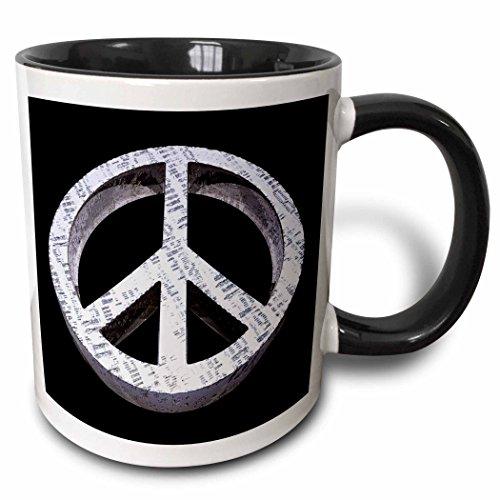 3dRose 3dRose Peace Pass It On a rough and worn metal three dimensional peace sign - Two Tone Black Mug, 11oz (mug_19231_4), Black/White