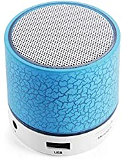 Bluetooth Speaker, Mini Portable Bluetooth Wireless Speaker with Colorful LED Light and Build-in Mic, Support USB/AUX/TF/SD Card (Blue)