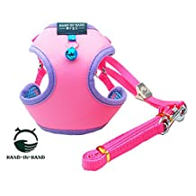 HAND-IN-HAND 2pcs Set Solide Color Mesh Padded Harness + Leash with Bell for Pet Small Dog Cat Pink S
