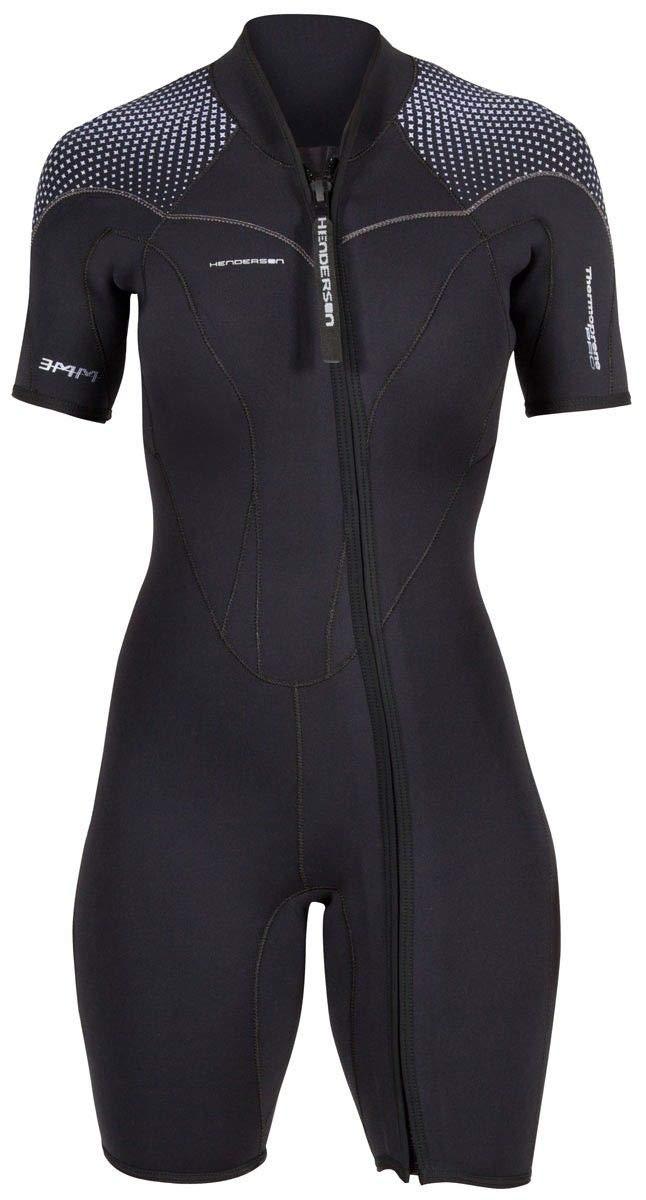 Henderson Women's 3mm Thermoprene Pro Front Zip Shorty Wetsuit, Black/Purple, 4 by Henderson