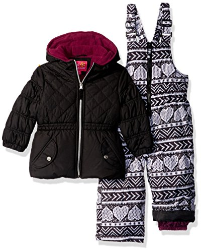 (Pink Platinum Baby Girls Quilted Heart Print Snowsuit, Black, 12M)