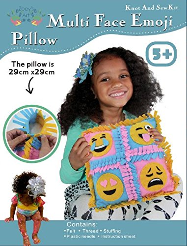 Four Face Pillow Craft Kids Sewing Kit, Offers Hours of Fun for Boys and Girls, Emoji, Sew and Stuff Kit,Includes all Supplies, Fun Activity, Ages 5-12, Ideal Indoor Activity by - Easter Sewing Crafts