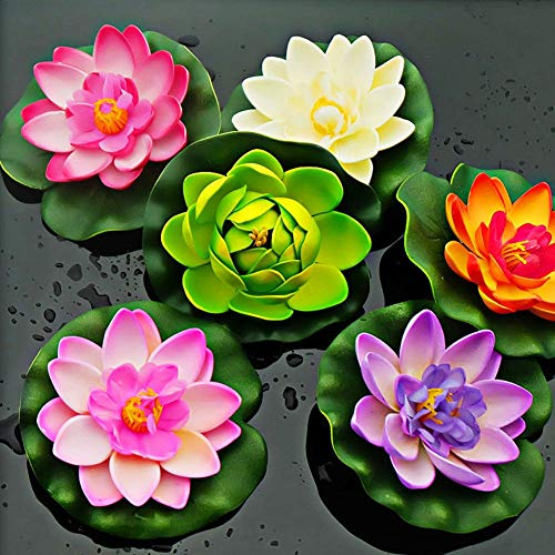 Tcplyn-Fish-Tank-Decor-Artificial-Water-Lily-Floating-Flower-Lotus-Home-Yard-Pond-Fish-Tank-Decor-Milk-White-Durable-and-Useful