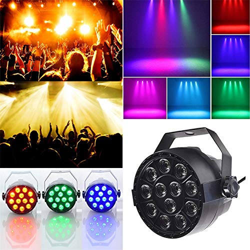 (PER Colorful Par Stage Light Voice Activated RGB DMX512 Party Disco Lights 12LEDs Beads For Bar Party Wedding)