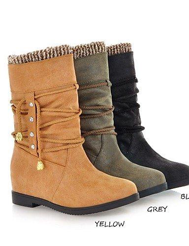 Trabajo Xzz Semicuero us6 Cn39 Casual Eu39 Uk4 Eu36 negro Y Black Exterior Plataforma De Moda Cn36 Gray Comfort Uk6 Oficina La A Mujer us8 Amarillo Zapatos Botas 6q6Or7