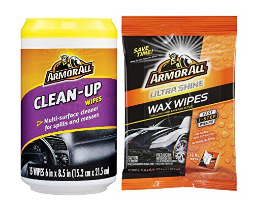 Armor All Car Bundle, Mini Car Care Cleaning Wipes,15 Count Ultra Shine Wax Wipes-12 Wipes