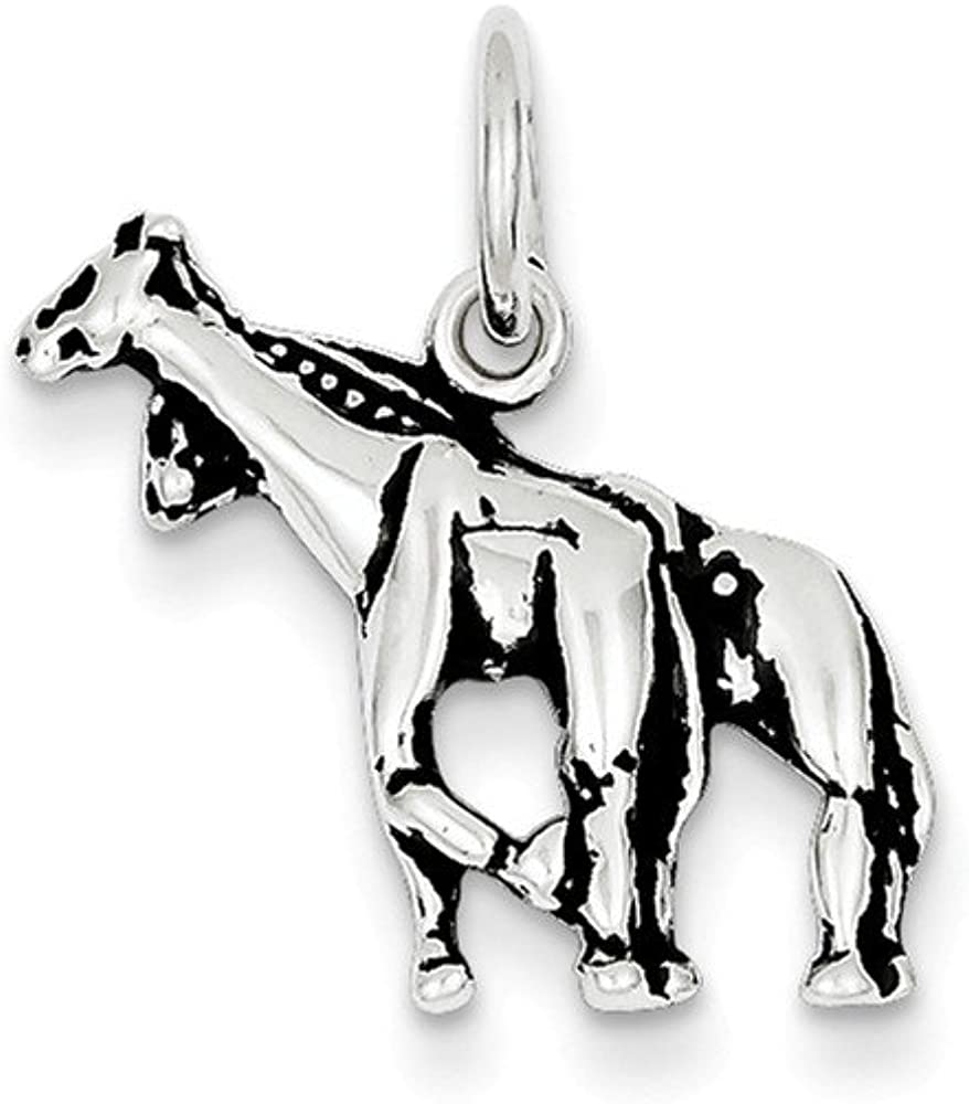 Sterling Silver Antiqued Giraffe Charm on a Sterling Silver Chain Necklace 16-20