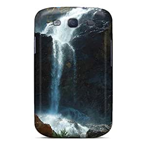 Galaxy S3 Hard Back With Bumper Silicone Gel Tpu Case Cover Water Falling From The Rocky Mountains