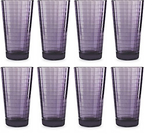 (Circleware 44824 Plum Drinking Glasses, Huge Set of 8, 17 oz, Heavy Base Highball Tumbler Beverage Ice Tea Cups, Home & Kitchen Entertainment Glassware for Water, Juice, Milk, Beer)