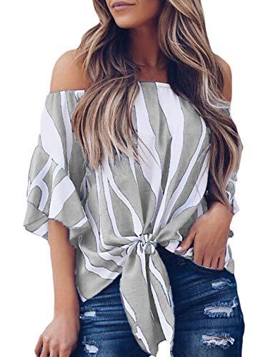 CILKOO Women'sPlusSizeTops Loose Tunic 3 4 Sleeve StripedOffTheShoulderTeeShirtFloralPrintLoose Chiffon Blouse Top Grey US18-20