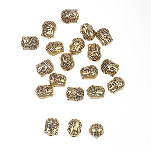 RUBYCA 20PCS Buddha Small Spiritual Metal Beads Gold Color Spacer for Jewelry Making Bracelet
