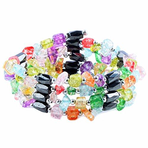 rockcloud Magnetic Therapy Hematite Gemstone Crystal Bracelet Necklace (Magnetic Wrap Bracelet Choker)