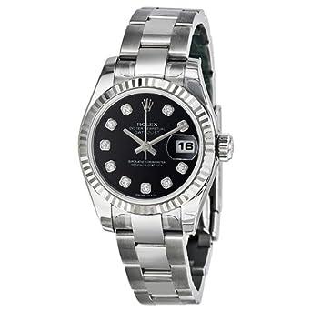 Rolex Datejust Black Diamond Dial Oyster Bracelet 18kt White Gold Bezel Ladies Watch 179174bkdo