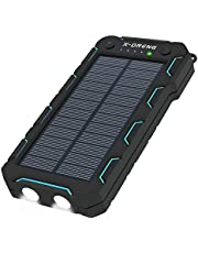 Solar Charger 15000 mAh, Portable Solar Panel Phone Charger Solar Power Bank with Dual USB, LED Flashlight, IP65 Waterproof, Shockproof and Dustproof, for Cell Phone, iPhone, Samsung Galaxy, iPad
