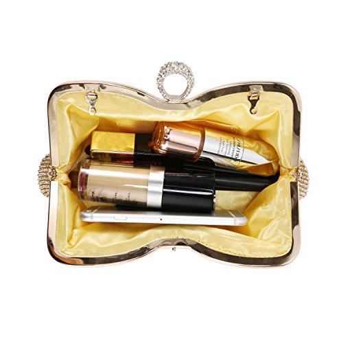 076ea85770 Borsetta Sera Per Clutch Elegante Con Matrimonio Sposa Tracolla Cocktail  Donna Cerimonia Oro Borsa Catena Baigio Pochette Da Argento ...