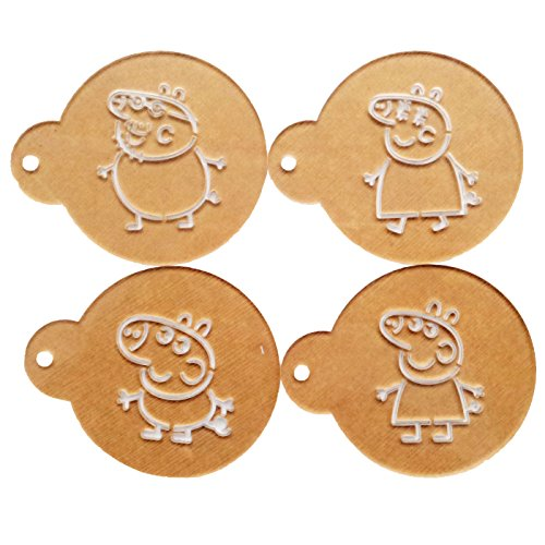 Yunko 4pcs Acrylic Peppa Pig Cartoon Cup Cake Stencils Cookie Coffee Stencils