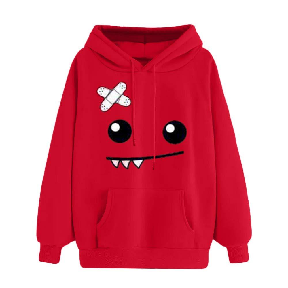 Women Teen Girls Cute Emoticon Print Hooded Sweatshirt Cuekondy Long Sleeve Casual Pocket Pullover Jumper Tops Blouse