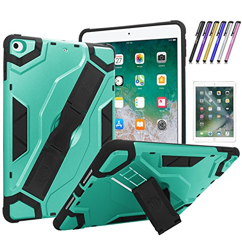 Mignova's heavy-duty shock-resistant hybrid housing with irregular built-in support for the Apple iPad 9.7 2018 6TH Gen + screen saver and stylus (Mint Green)