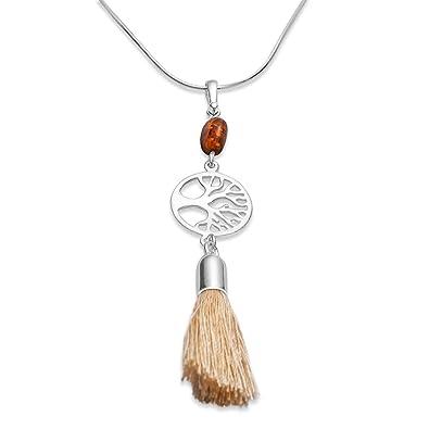 Bernstein Quaste Lebensbaum Halskette,Troddel Baum des Lebens 925 Silber  Amulett  2014  Amazon.de  Schmuck 53b3b1cdd0