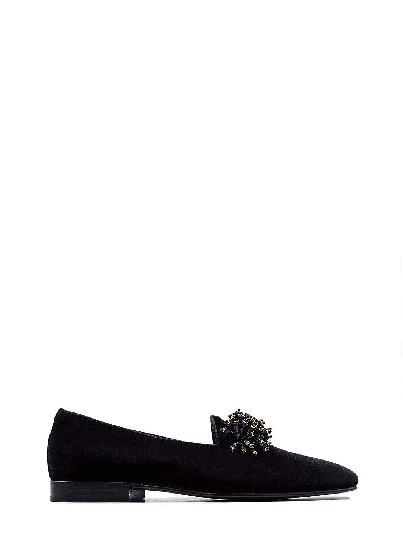 - LEQARANT Men's 7002A04ABLACK Black Velvet Loafers