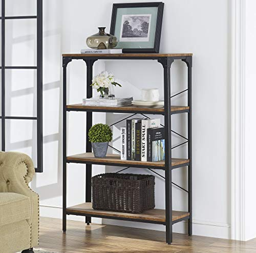 O&K FURNITURE 4-Shelf Industrial Vintage Bookcase, Metal Bookshelf, 48