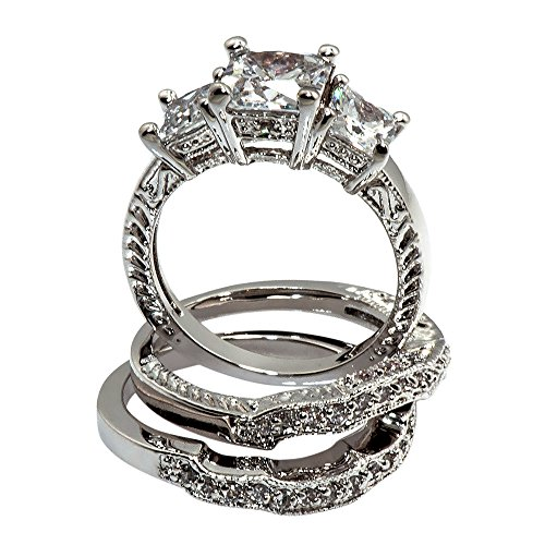 Princess-shape Trio with Intricate Milgrain Design 4 Ct. Cubic Zirconia Cz Bridal Engagement Wedding 3 Pc. Ring Set (Center Stone Is 1.75 Cts) (8)