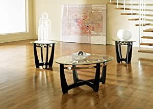 Steve Silver Matinee Glass Top Occasional Table 3 Pc Set in Black