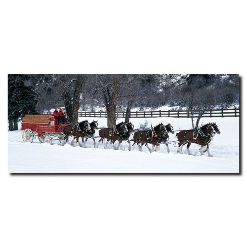 Snow Covered Fence - Trademark Fine Art Clydesdales in Snow Covered Field with Fence by Budweiser, 14x32-Inch Canvas Wall Art