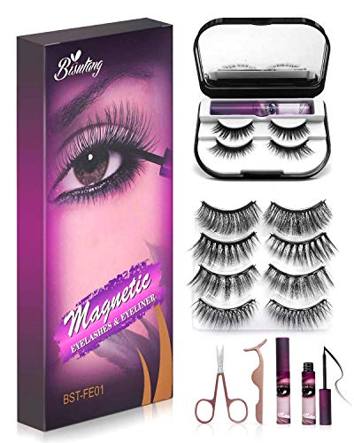 Bisutang [Upgraded] Magnetic Eyelashes and Eyeliner, 6-Pairs Reusable Magnetic Lashes and 2 Tubes of Magnetic Eyeliner…