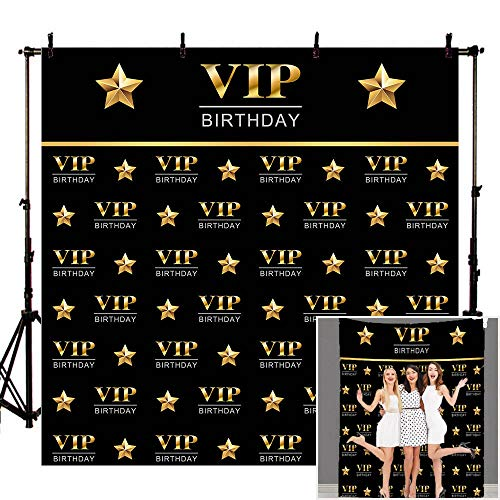- Mehofoto 8x8ft VIP Birthday Backdrop Step and Repeat Birthday Photography Background Gold VIP Black Photo Backdrops for Photo Booth Props