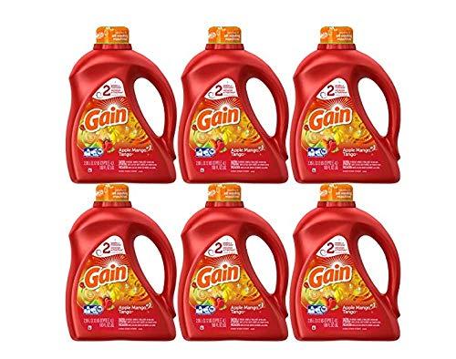 Gain Liquid Laundry Detergent, Apple Mango Tango Scent, 100 oz, 6-Pack