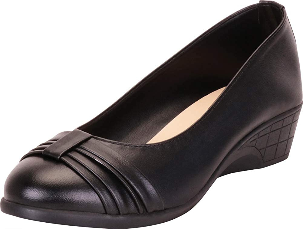 Black Pu Cambridge Select Women's Round Toe Bow Knot Low Comfort Wedge