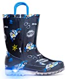 MOFEVER Toddler Boys Kids Light up Rain Boots Waterproof Shoes Navy Cars Print Lightweight Cute Lovely Funny with Easy-on Handles (Size 9,Navy)