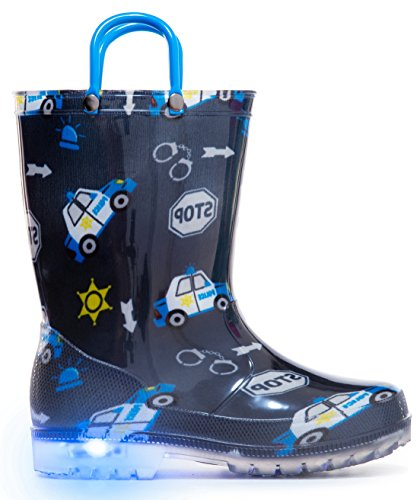 MOFEVER Boys Kids Toddler Rain Boots Light Up Waterproof Shoes Blue Cars Print Lightweight Cute Lovely Funny Print with Easy-On Handles (Size 3,Blue)