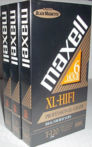 Maxell Video Cassette High Fidelity Xl-hifi T-120 Vhs Professional Grade (3 Pack) by Maxell