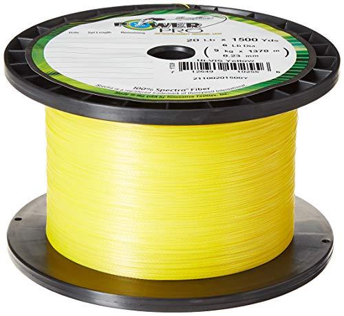 Power Pro Spectra Fiber Braided Fishing Line, Hi-Vis Yellow, 300YD/15LB