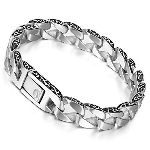 Flongo Motard Bracelet Homme Acier Inoxydable R¨¦tro euro-am¨¦ricain Style Gothique