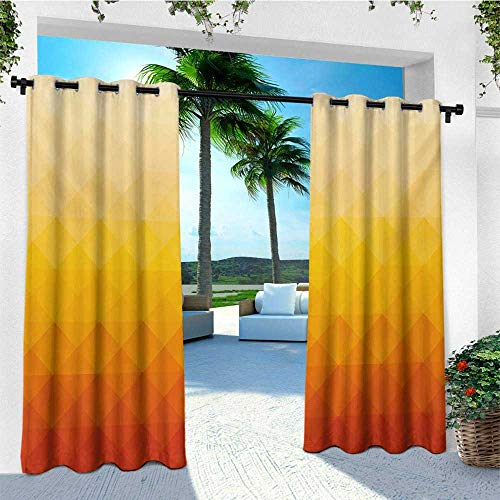 leinuoyi Abstract, Outdoor Curtain Ties, Digital Triangle Geometric Mosaic Gradient Shades of Orange Poly Art, for Privacy W108 x L96 Inch Red Vermilion Marigold (Brocade Poly)