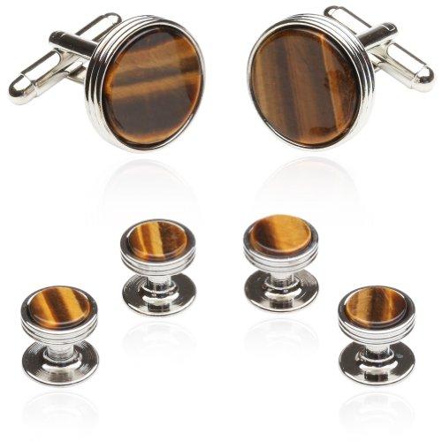 Cuff-Daddy Tigers Eye Tuxedo Formal Set Cufflinks Studs Silver with Presentation - Designer Cufflinks Stud
