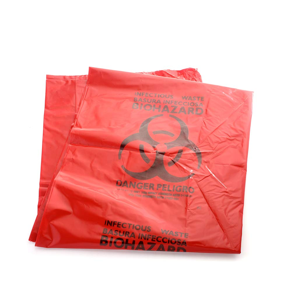MediChoice Biohazard Can Liner, Imprinted, Polyethylene, 33 Gallon, 33x39 Inch, 3 mil, Red, 1314A6639ZRO (Case of 100)